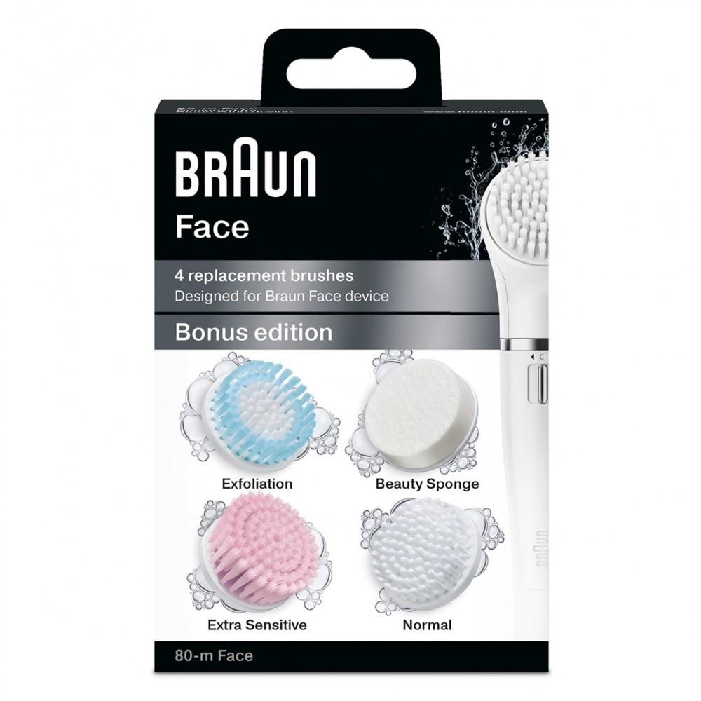Набор сменных щеточек для очищения лица Braun SE80m Face (4 шт)
