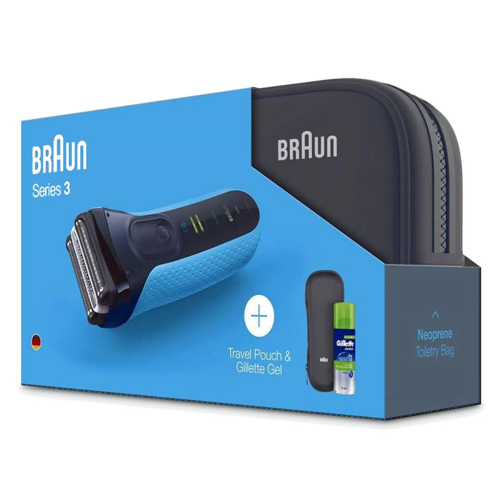 Электробритва Braun Series 3 310ts + гель Gillette + футляр + нессесер