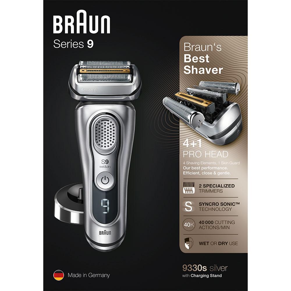 Электробритва Braun Series 9 9330s с зарядной станцией и тканевым футляром