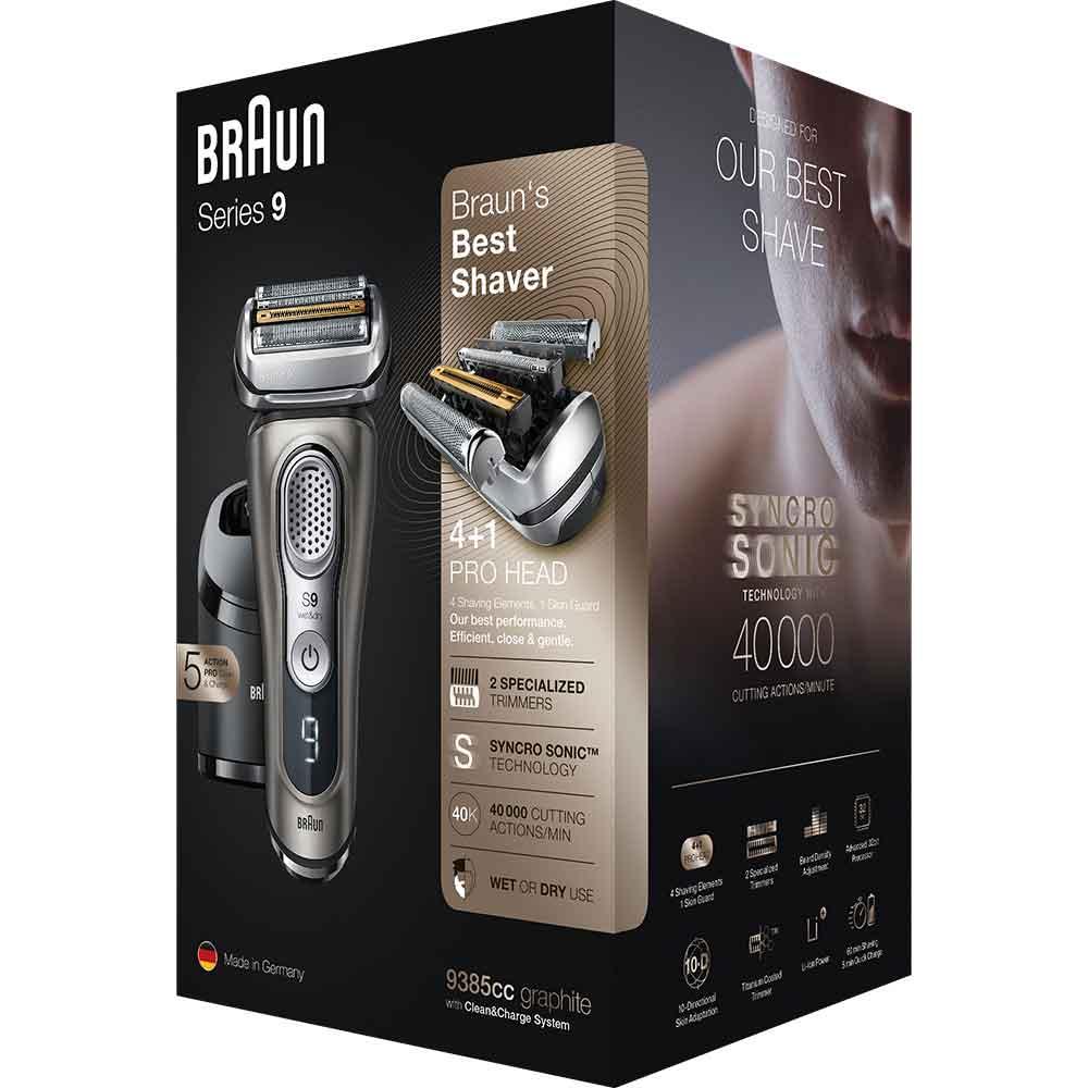 Электробритва Braun Series 9 9385cc со станцией Clean&Charge с функцией сушки и кожаным футляром
