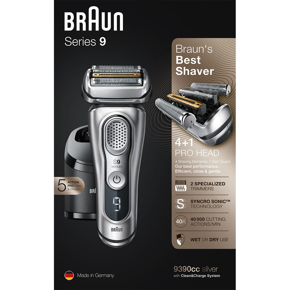 Электробритва Braun Series 9 9390cc со станцией Clean&Charge с функцией сушки и кожаным футляром