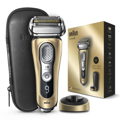 Электробритва Braun Series 9 9399s Gold с зарядной станцией и кожаным футляром