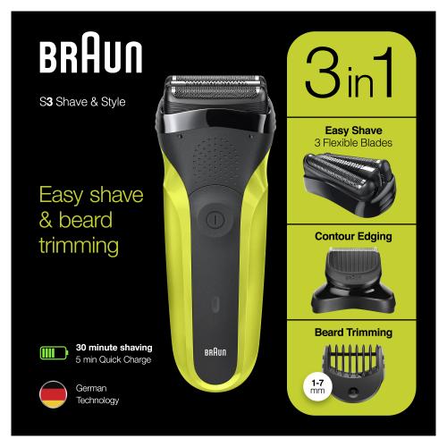 Электробритва Braun Series 3 Shave&Style 300bt Green + насадка-триммер и 5 гребней