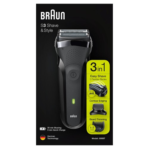 Электробритва Braun Series 3 Shave&Style 300bt + насадка-триммер и 5 гребней