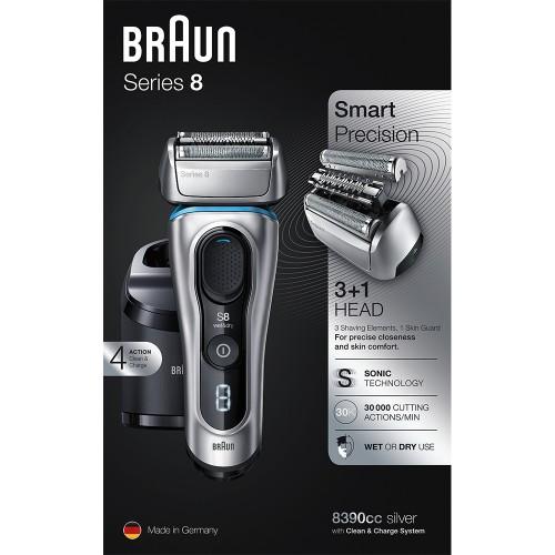Электробритва Braun Series 8 8390cc со станцией Clean&Charge и тканевым футляром