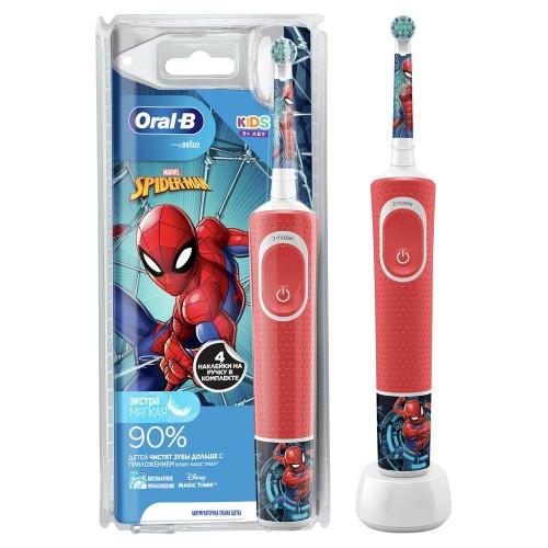 """Детская электрическая зубная щетка Oral-B Vitality Kids Spiderman """"человек-паук"""" D100.413.2K"""