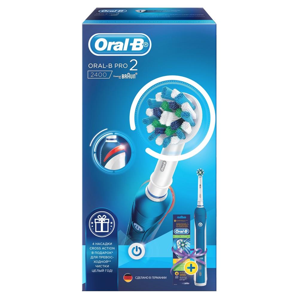 Набор Braun Oral-B 2400 (электрическая щетка Pro 2000 + сменные насадки Cross Action, 4шт.)