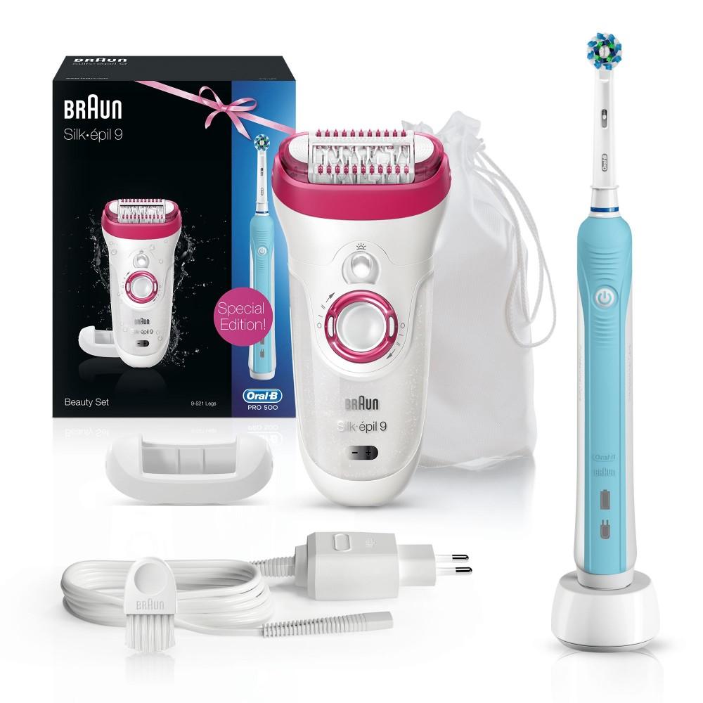 Эпилятор Braun Silk-epil 9 - 9521 + Электрическая зубная щетка Oral-B PRO 500