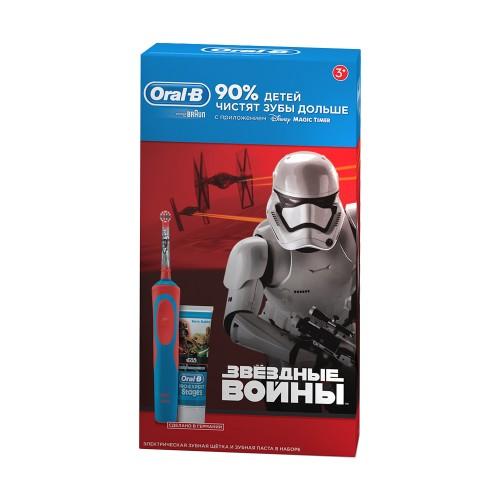 Детская электрическая зубная щетка Oral-B Kids Vitality StagesPower StarWars D14.513 + Зубная паста