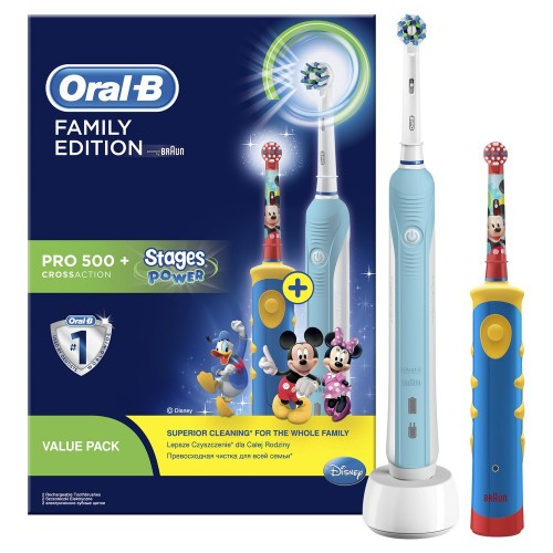 Набор электрических зубных щеток Oral-B Family Pack (Professional Care 500 + Kids D10.513K)