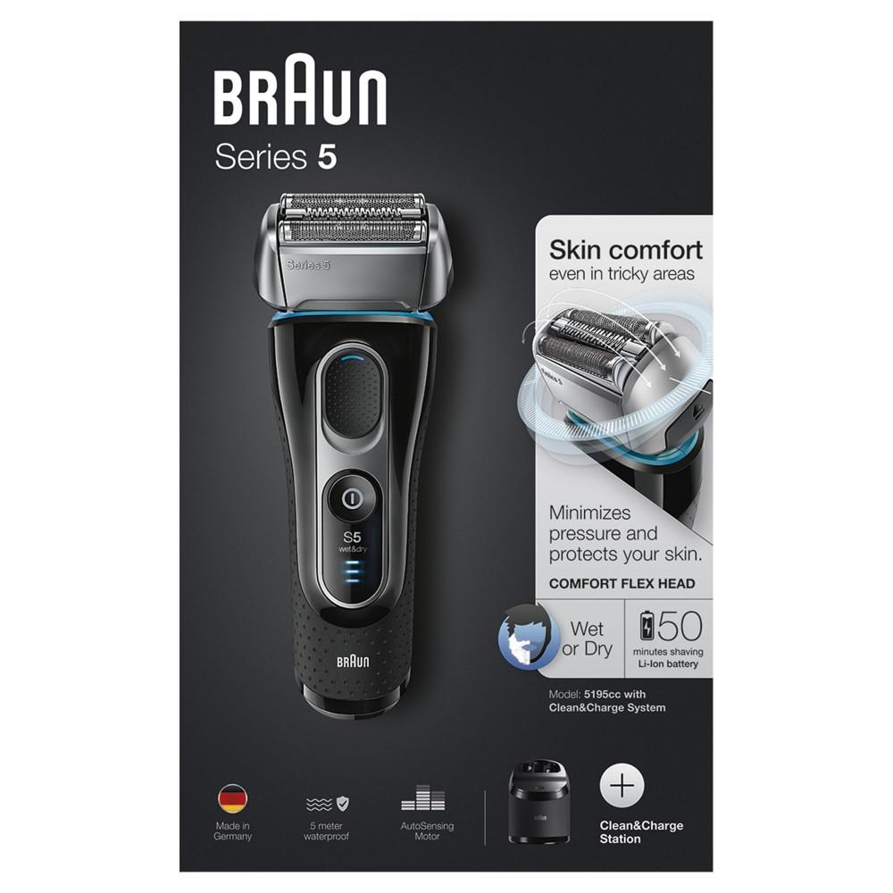 Электробритва Braun Series 5 5195cc со станцией Clean&Charge и тканевым футляром