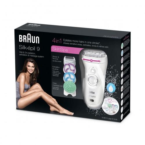 Эпилятор Braun Silk-epil 9 SkinSpa 9 - 961v + щеточки для лица и пилинга тела