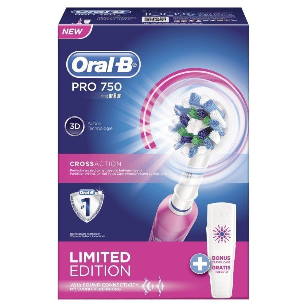 Э/щетка Braun Oral-B PRO 750 D16.513.UX розовая + футляр