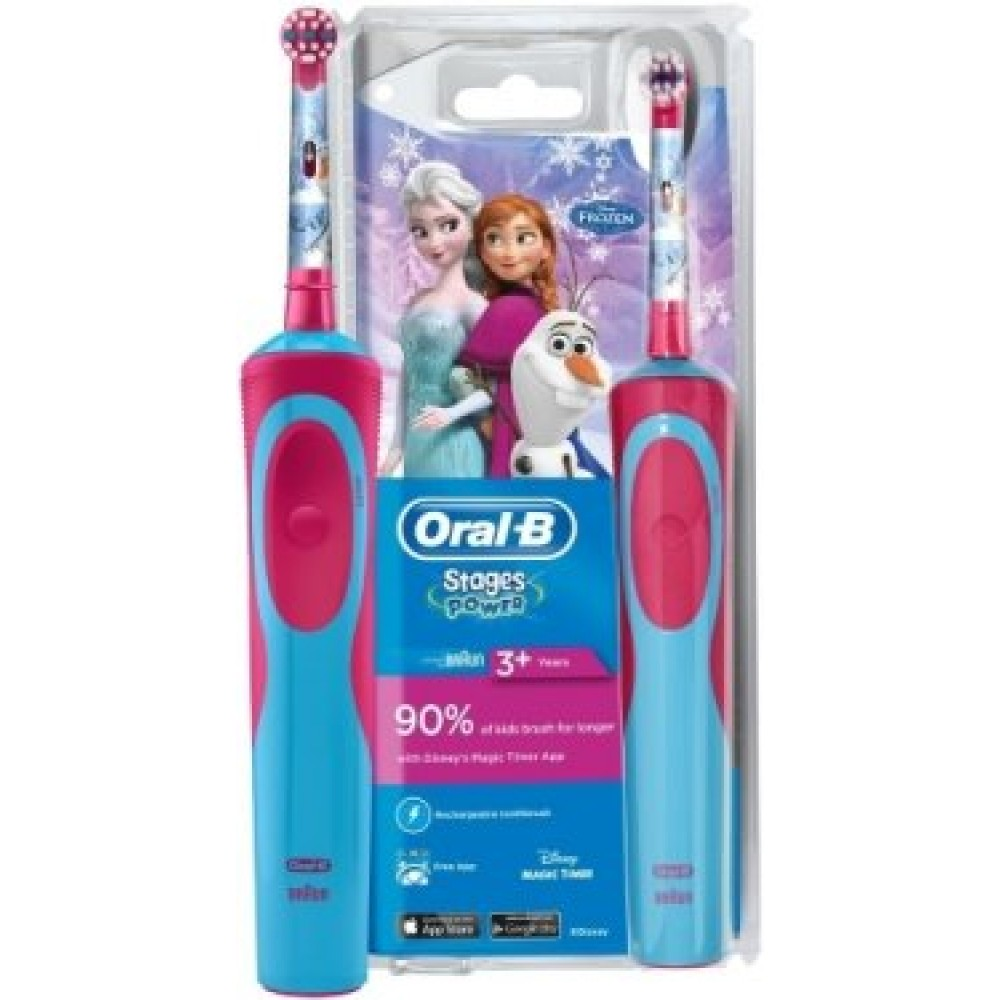 Детская электрическая зубная щетка Oral-B Stages Power Frozen Kids D12.513 + чехол