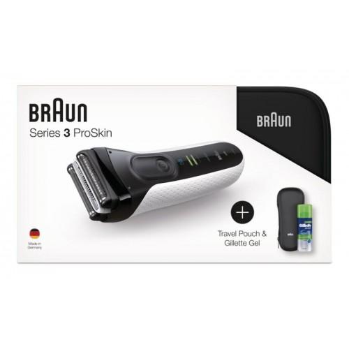 Электробритва Braun Series 3 ProSkin 3040ts White + гель Gillette + футляр + несессер