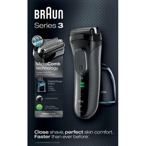 Электробритва Braun Series 3 ProSkin 3050cc Grey со станцией Clean&Charge