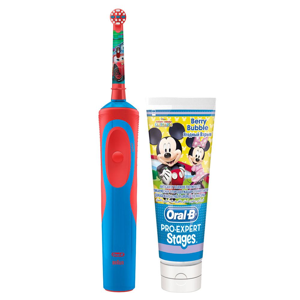 Детская электрическая зубная щетка Oral-B Vitality D14.513K Cars Kids + Зубная паста Микки зуб хао юэ ora2 полосатая зубная паста 140г сильные зубы